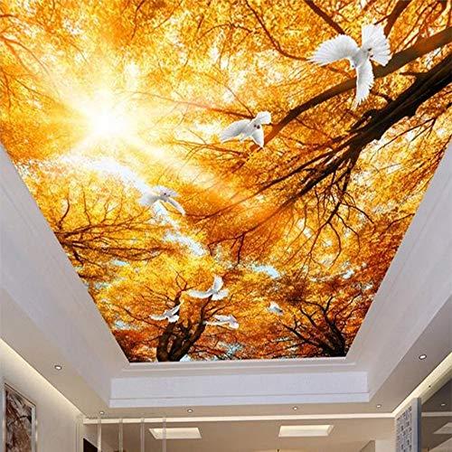 Tapete Wandbild Zenith Decke 3D Wandbild Stereo Sun Yellow Maple Dove Dekoration Natürliche Deckenbild, 250 * 175Cm