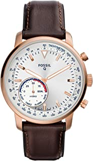 Fossil Men's Hybrid Smartwatch Stainless Steel Watch with Leather Strap, Brown, 22 (Model: FTW1172)