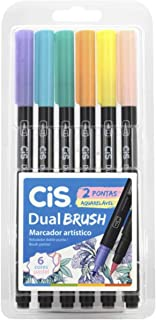 Marcador Artístico Aquarelável, CIS, Dual Brush 58.0100, Multicor, Pacote de 6