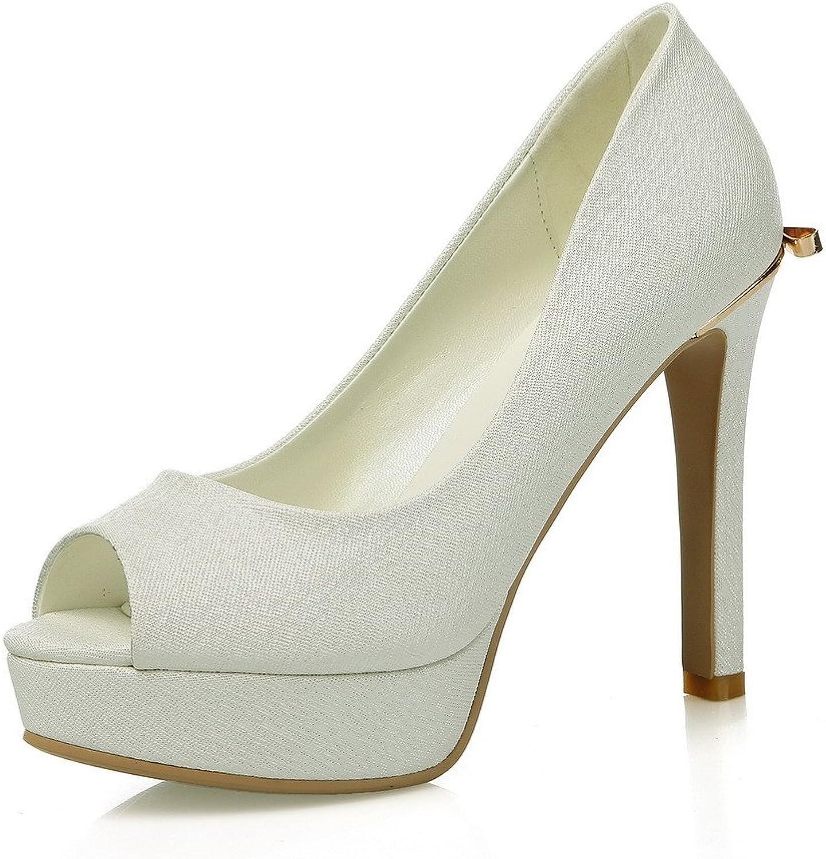 AmoonyFashion Women's Peep Toe Pull On Pu Solid High Heels Sandals