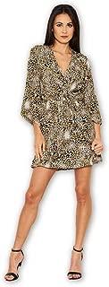 AX Paris Women's Animal Print Asymmetrical Sleeve Dress