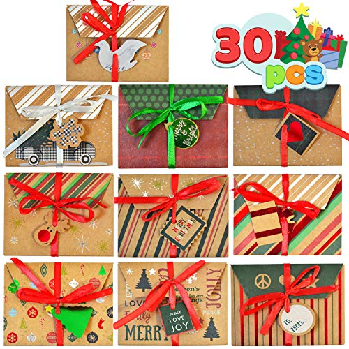 30 Pcs Christmas Gift Cards Box Foil Kraft Paper Christmas Pattern Wrapped Envelope Card Boxes with Ribbon Holder and Gift Tags for Christmas Gift Wrap/Decor