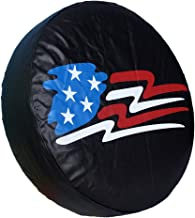HEALiNK Spare Tire Cover,PVC Leather Waterproof Dust-Proof American Flag Rv Wheel Covers for Jeep Liberty Wrangler SUV Camper Travel Trailer Accessories (14 inch for Tire Φ 23