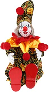 Baosity Porcelain Hanging Foot Clown Doll Harlequin Doll, Home Office Desk Shelf Display Ornaments, B