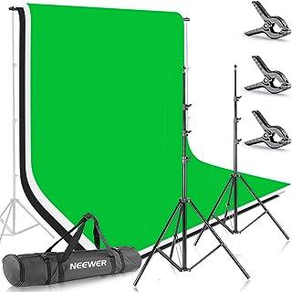 Neewer 10086005 2.6M X 3M Soportes de Fondo con 1.8M X 2.8M Fondo(BlancoNegroVerde) para Fotografía y Vídeo