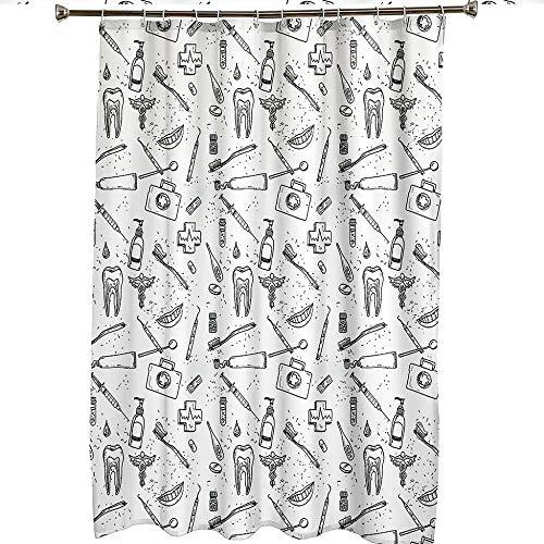 master_GGGGG Duschvorhang Badewanne Zahn auf weiß gesetzt Duschvorhang Wasserdicht/Antischimmel Badewanne Vorhang mit 12 Haken, 130CM X 180CM
