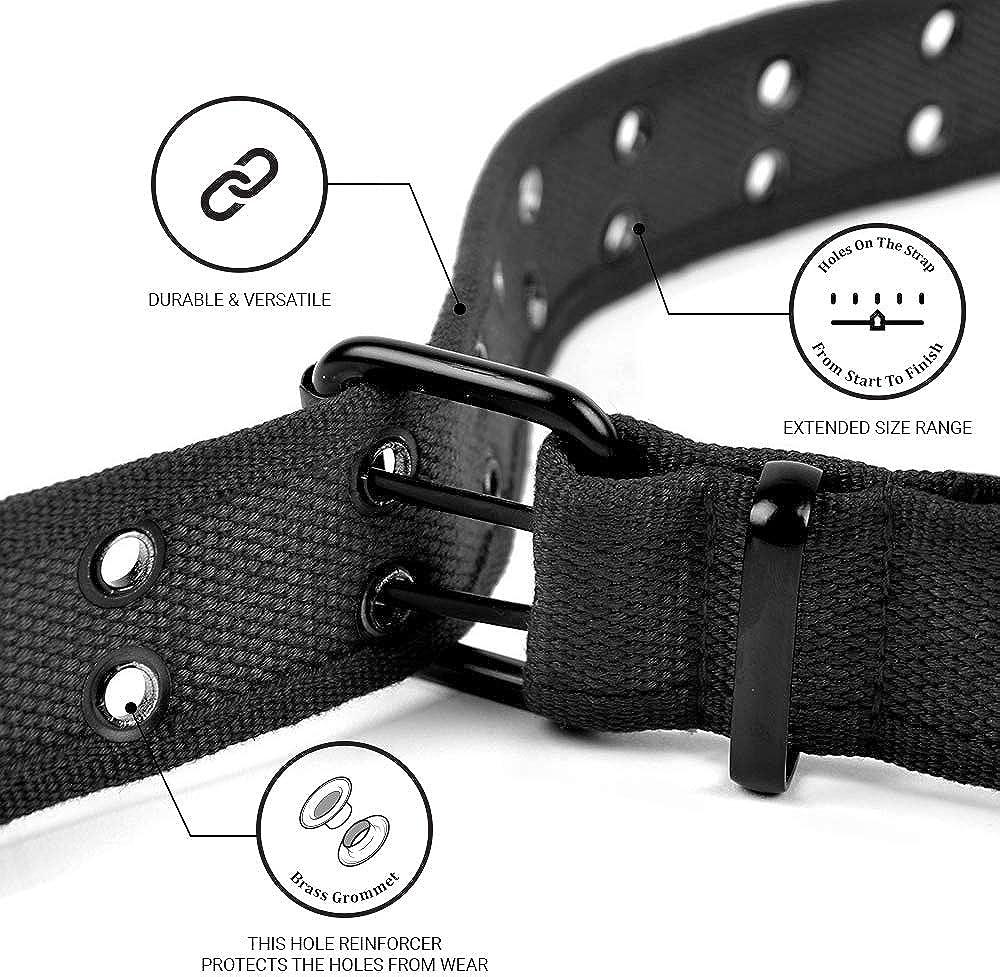 Casual Unisex Canvas Belt Double Hole Belt - Double Grommets Belt for Men and Women