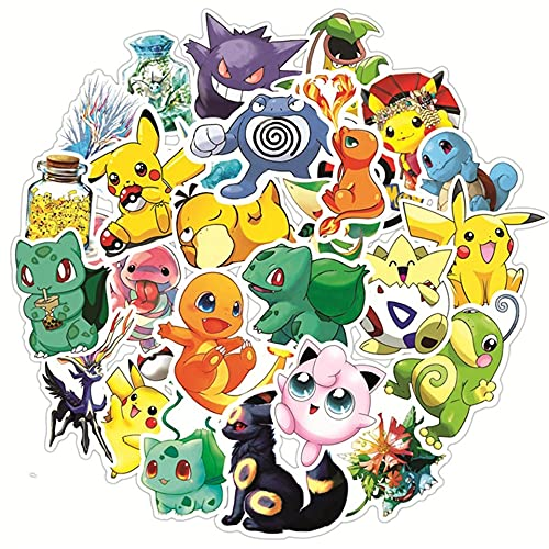 CHUDU Dessin animé Anime Pikachu Autocollants Aller Planche à roulettes Guitare Ordinateur Portable Chariot à Bagages Mignon Pokemon Autocollants étanches drôle Enfants Jouet Cadeau 50 pièces