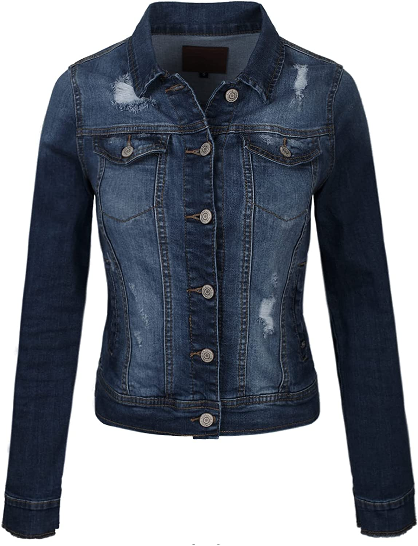 MixMatchy Women's Classic/Destroyed Casual Long Sleeve Vintage Denim Jean Jacket