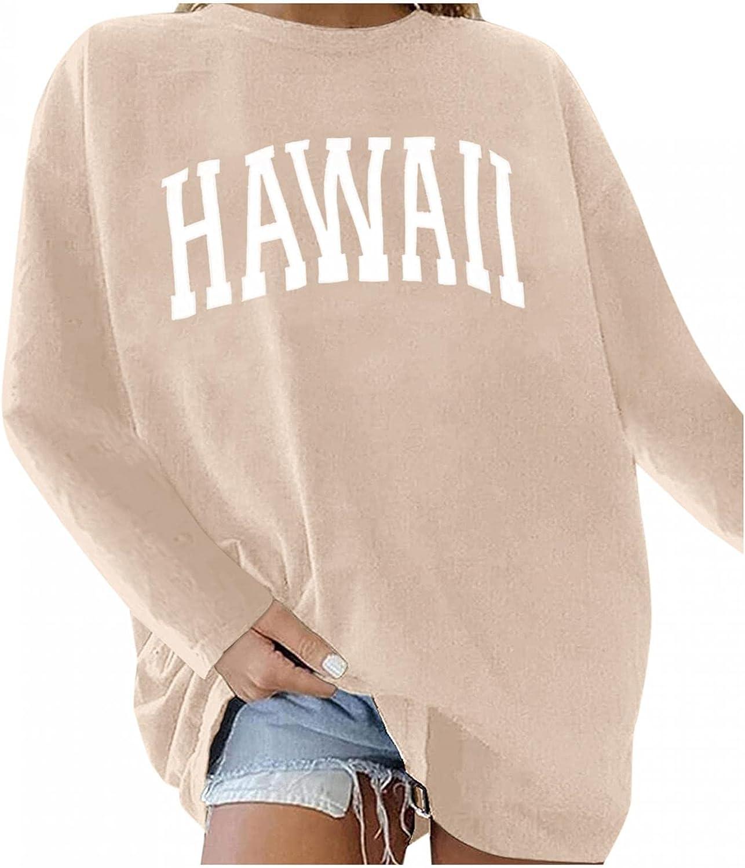 Qisemi Sweatshirt for Women Excellent Overseas parallel import regular item Oversized Tops Print Letter Pullover