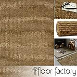 floor factory Tappeto Moderno Naturale Juta Beige Naturale 120x170cm - Tappeto Tessuto a Mano di 100% Fibra Naturale