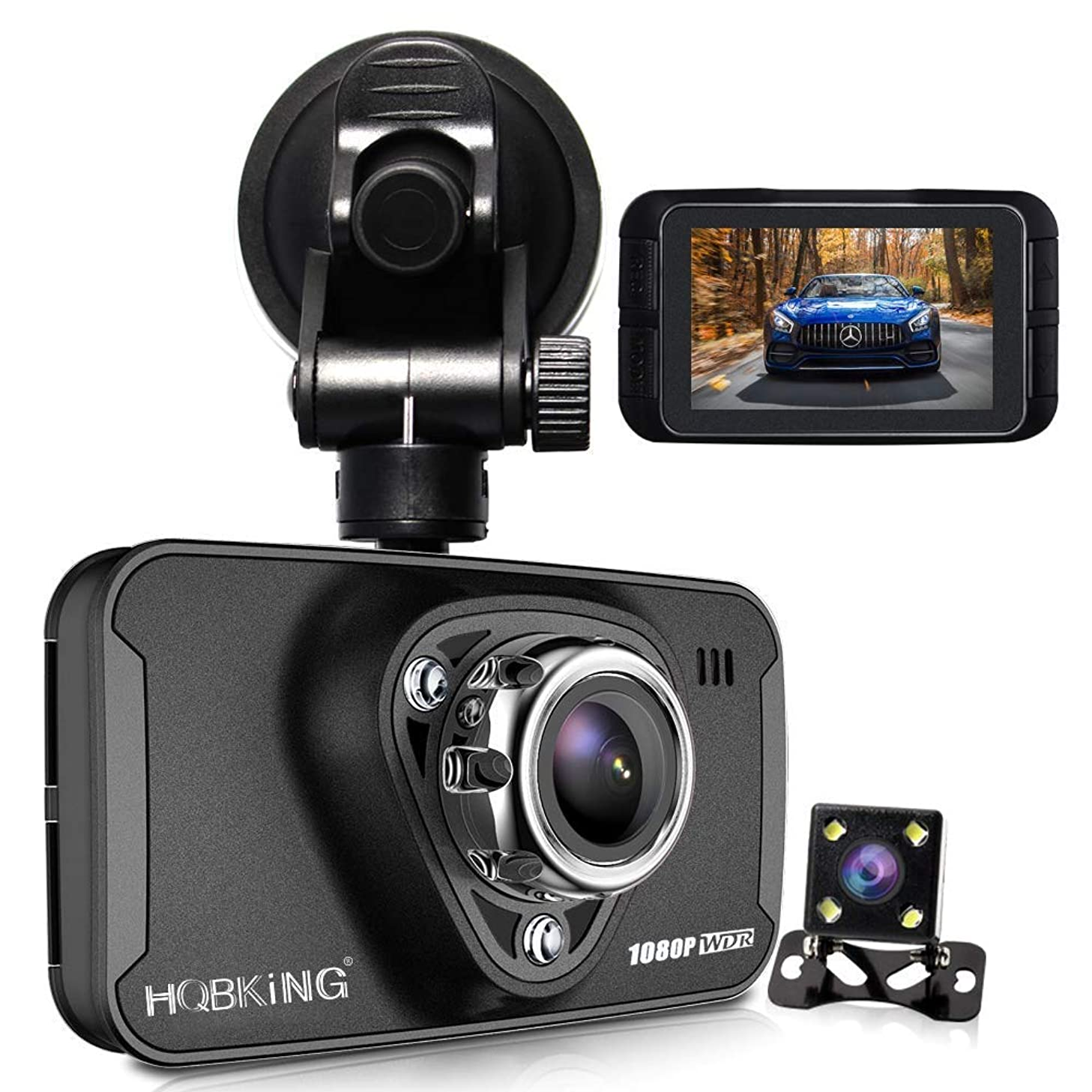 1080P Dual Dash Cam Full HD Front and Rear Camera for Cars, Driving Recorder with IR Sensor, 170 Degree Wide Angle 6G Lens, G-Sensor, WDR, Night Vision, Loop Recording,2.7