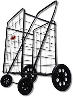Extra Large Heavy Duty Folding All Purpose Utility Shopping Grocery Luggage Storage Cart Jumbo Size with Wheels-Capacity up to 150 lb, Black(Black Cart Only)