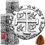 Metal Pirate Coins - 100 Large Silver Treasure Coin Set, Metal Replica Spanish Doubloons for Board Games, Tokens, Toys, Cosplay - Realistic Money Imitation, Pirate Treasure Chest - Diameter: 1.06'