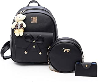 Girls Bowknot 3-Pieces Fahsion Leather Backpack Mini Backpack Purse for Women