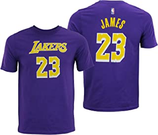 Outerstuff Lebron James Los Angeles Lakers #23 Youth Player Name & Number T-Shirt Purple (Medium 10/12)