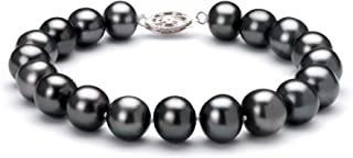 Black 8.5-9mm AA Quality Freshwater 925 Sterling Silver Cultured Pearl Bracelet For Women
