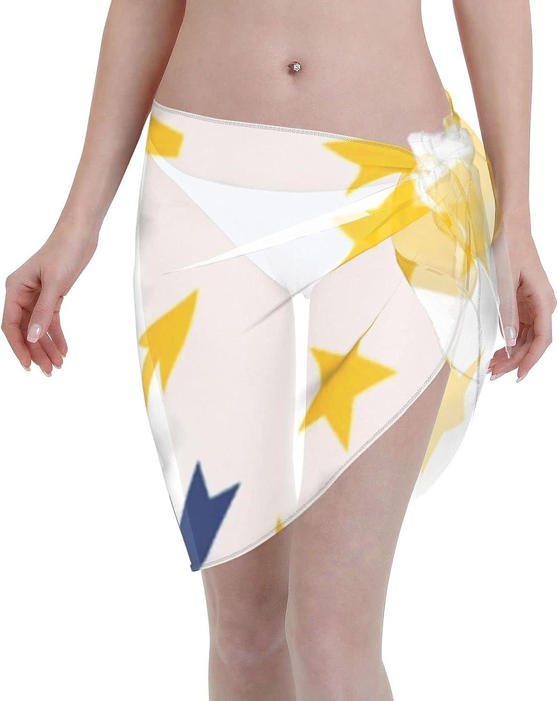 Flag of Rhode Island Women Short Sarongs Beach Wrap, Beach Cover-Ups High Waisted Wrap Skirt with Slit,Sexy Sheer Swimsuit Bikini Wraps Chiffon,Soft Scarf for Swimwear Black