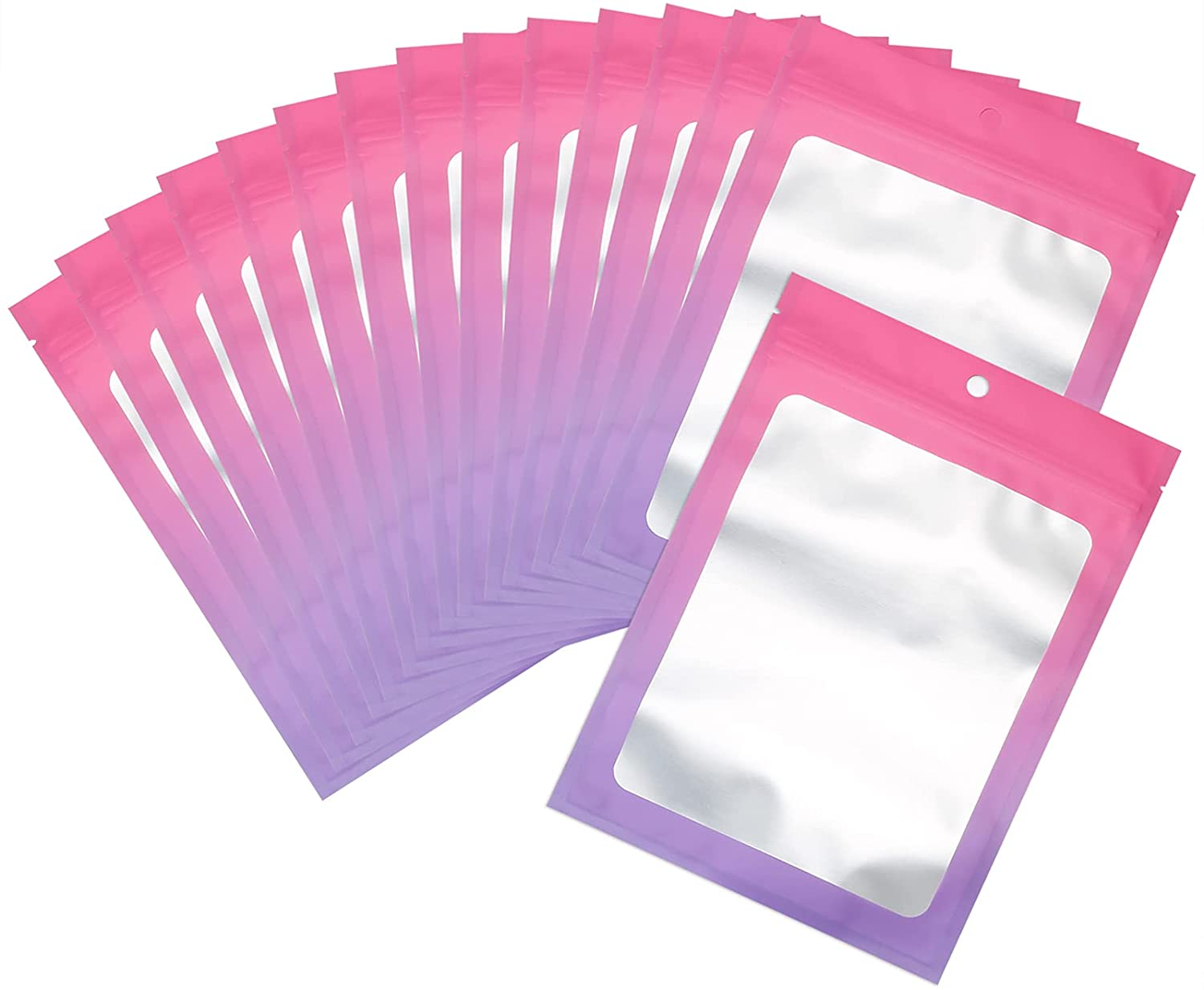 100 Pcs Resealable Mylar Ziplock Food Storage Bags, Gradient Color Smell Proof Bag with Clear Window, Packaging Pouch for Coffee Beans Candy Sample Food (Pink Purple, 5.9 X 8.6 Inch)