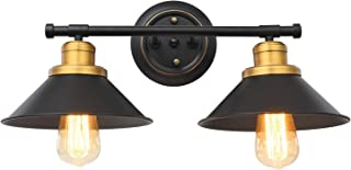 Pauwer 2 Light Bathroom Vanity Light Industrial Black Metal Shade Wall Sconce Light Fixture with Brass and Highlights Wall Lamp for Bathroom Kitchen Living Room