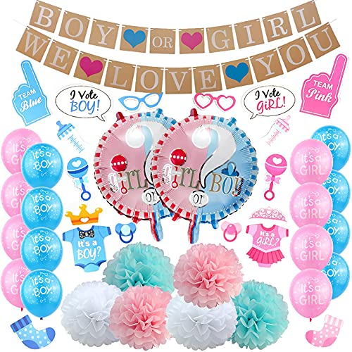 Gender Reveal Balloons Party Supplies Decoration, Large Boy Or Girl Balloon For Gender Reveal Party, Baby Showers Decoration, Letter Banner Confetti Balloons He Or She Cupcake Toppers Tassel Garland