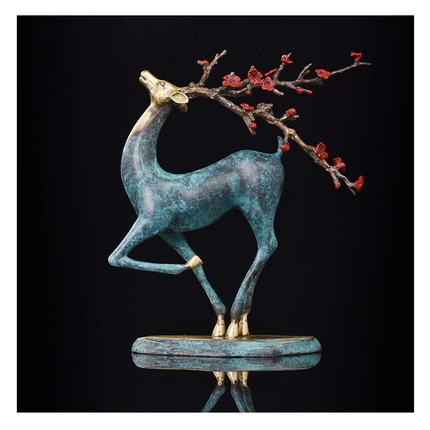 物理ドルオープニングGWM 純粋な銅鹿ジュエリー、家の装飾、リビングルーム、ポーチオフィス、工芸品、ギフト、ニホンジカ