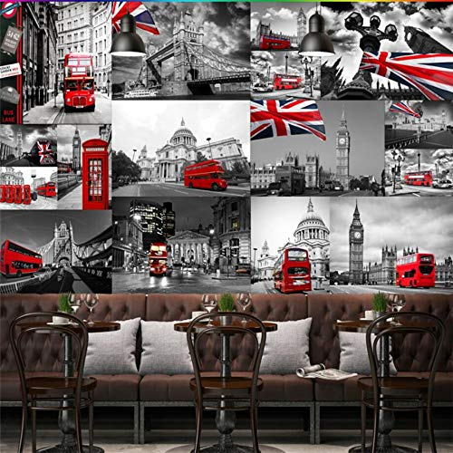 Papel Tapiz 3D Personalizado Europese Estilo Londen Street View Estilo británico Tower Bridge Bus Cabina Telefónica Papeltapiz 150×105cm