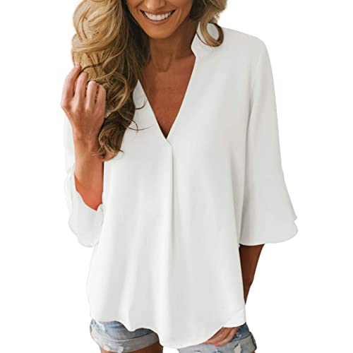 0b65acb46c988c Dean Fast Women Casual Chiffon Flare Sleeve V Neck Plus Size Blouses Shirts  Loose Flowy Tops