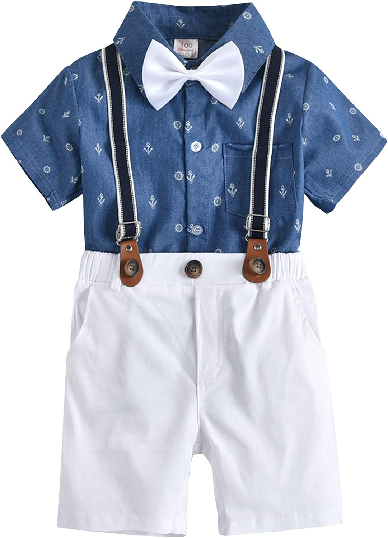 Baby Boys Gentleman Outfit Set, Short Sleeve Shirt Short Pants Suspender Bowtie 4PCS Formal Tuxedo Suits 1-7 Years
