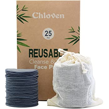 Chloven 25 Pack Charcoal Bamboo Reusable Makeup Remover Pads - Organic Bamboo Reusable Cotton Rounds for Toner, Washable Eco-Friendly Pads for all Skin Types with Cotton Laundry Bag