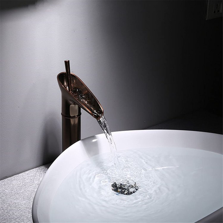 Bijjaladeva Wasserhahn Bad Wasserfall Mischbatterie WaschbeckenDas Bad Armatur Bronze Waschbecken Armatur Schwarz Kupfer Voll kaltem Wasser Wasserfall Wasserhahn F