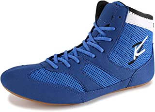 Men's Wrestling Shoes, High Top Kickboxing Shoes Mesh Unisex and Youth Boxing Boot Lightweight Box Shoes for Adults