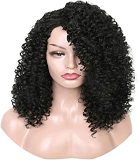 Long Curly Wig Black Wigs Heat Resistant Hair Synthetic Wigs For Black Women Brown Black Color High Density,Natural Black,18Inches