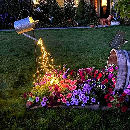 Solar 10 Strands 200 LEDs String Fairy Lights, Starry Copper String Lighting, Waterproof Watering Can Light, Solar Powered Firefly Moon Plants Tree Vines Decorations, Warm White