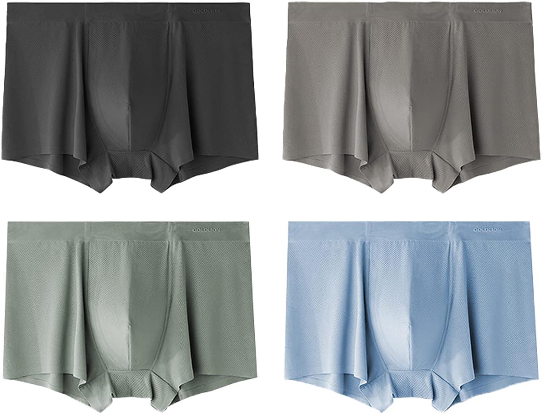 Men's (4 Pack) Ice Silk Underwear Breathable Mesh Quick Dry Travel Boxer Briefs