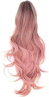 Lange roze krullende pruiken, krullende roze pruik synthetische roze krullende cosplay pruik verstelbaar en hittebestendig...