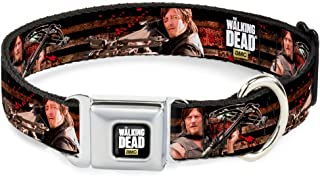 Buckle-Down Seatbelt Buckle Dog Collar - The Walking Dead Daryl Crossbow Poses/Fence - 1