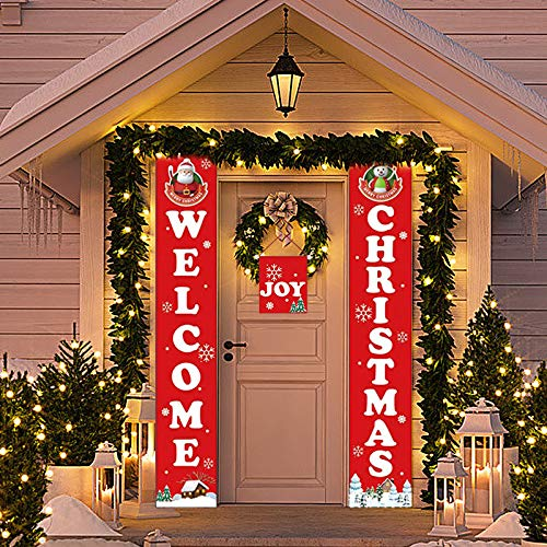 Mitors Door Christmas Adornment, Fireplace Wall Signs Flag for Outdoor Indoor Christmas Decoration,Christmas Door Banner Decoration Red Xmas Sign for Home Party (12x72') (Red)