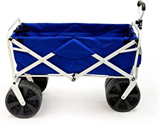 Meda | Collapsible Folding All Terrain Utility Beach Wagon Cart (Blue/White)