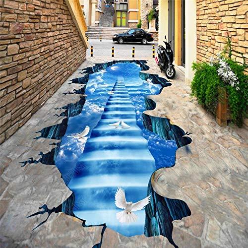 Aangepaste mode modern persoonlijkheid behang ladder hemel maan witte duif 3D vloerschildering zelfklevend PVC 350cm(L)x245cm(W)