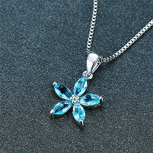 MIKUAM collarCollar con Colgante de Cristal Azul Simple para Mujer, Collares de Cadena de Flores Bonitos para Mujer, Collar de Boda arcoíris Nupcial con Encanto