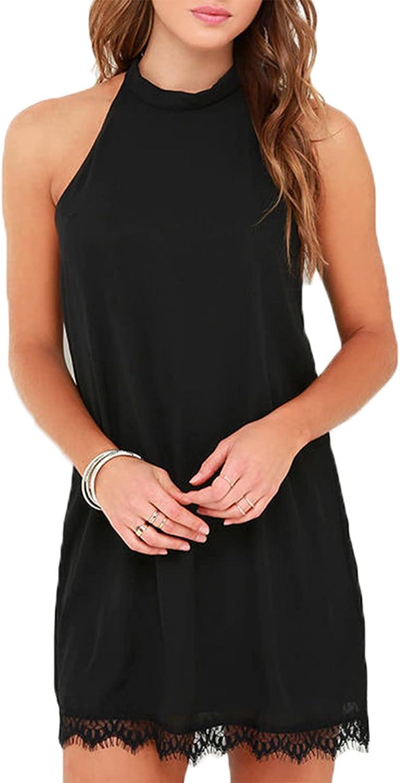 Fantaist Women's Sleeveless Halter Neck Patchwork Lace Mini Casual Shift Dress
