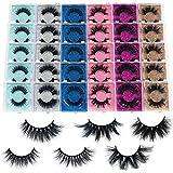 Mink Lashes bulk Mikiwi 30 Pack High Grade Packaging, 3D Mink Lashes wholesale,10-20mm Fluffy Long wispy Eyelashes, 6 Styles Real Mink Eyelashes