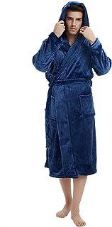 U2SKIIN Mens Fleece Hooded Robe Plush Bathrobe