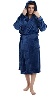 Mens Fleece Hooded Robe Plush Bathrobe