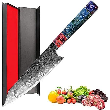 Promithi Couteau de chef fait main 67 couches de damas japonais VG10 en acier à haute teneur en carbone 8 pouces,Kiritsuke Knife,Couperet Couperet à Viande Végétale Ergonomique Manche en bois