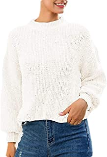 Women's Mock Neck Knit Long Sleeve Chunky Sweater Pullover Top