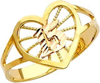 10k Two-Tone Gold Sweet 15 Anos Quinceanera Heart Ring