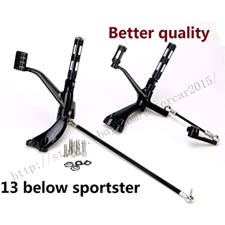 Bruce /& Shark Motorcycle Adjustable Rearset Fit forward Controls Pegs Levers Linkage Kit Bk Fit for Sportster 1200 883