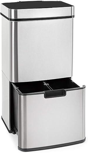 Klarstein Touchless Mülleimer Sensor-Mülleimer, 72 Liter Volumen in 4 Behältern: 43 & 2 x 12,5 Liter, Bio-Eimer mit Deckel: 4 Liter, touchless:…